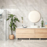 Green plants in elegant modern bathroom. Interior design